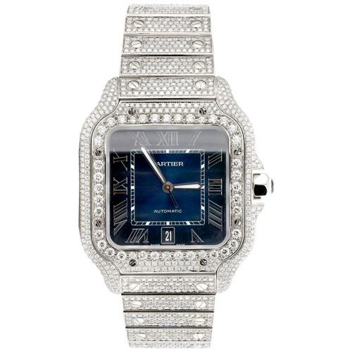 Santos De Cartier Diamond Watch 40mm Stainless Steel Ref. # WSSA0030 16.50 ct.
