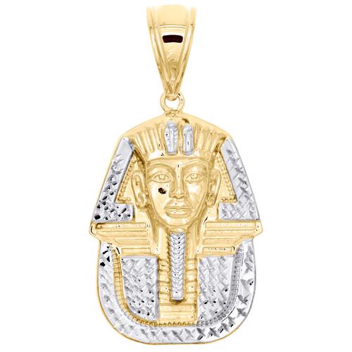 "1/10th 10K Yellow Gold Two Tone Diamond Cut King Tut Pharaoh Pendant 2"" Charm"