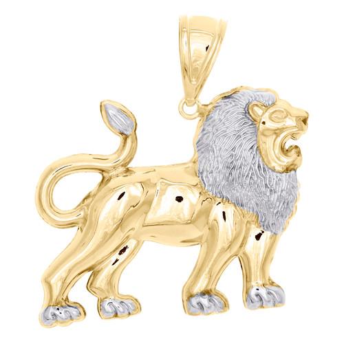 "1/10th 10K Yellow Gold Two Tone Diamond Cut Lion Full Body Pendant 1.95"" Charm"