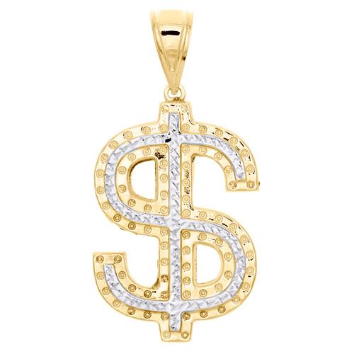 "1/10th 10K Yellow Gold Diamond Cut Money Dollar Bill Sign Pendant 2.25"" Charm"