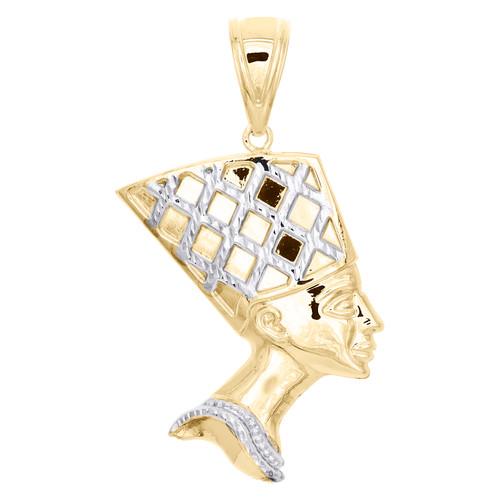 "1/10th 10K Yellow Gold Two Tone Diamond Cut Queen Nefertiti Pendant 2"" Charm"