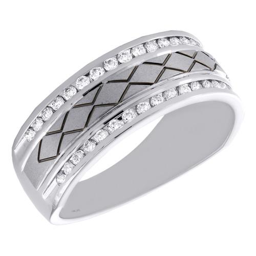 14K White Gold Round Diamond Channel Set Braided 8mm Wedding Band Ring 1/2 CT.