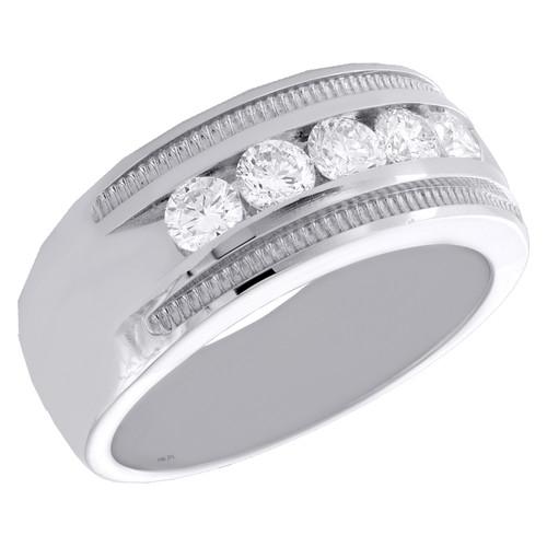 14K White Gold Round Diamond 5 Stone Milgrain Texture Wedding Band 9mm Ring 1 CT