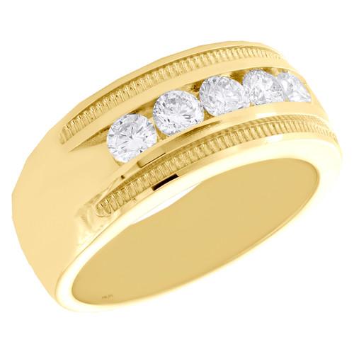 14K Yellow Gold Round Diamond 5 Stone Milgrain Frame Wedding Band 9mm Ring 1 CT.