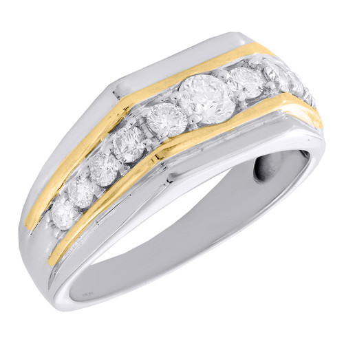 10K White Gold Two Tone Round Diamond Fancy Wedding Band 9mm Prong Set Ring 1 CT
