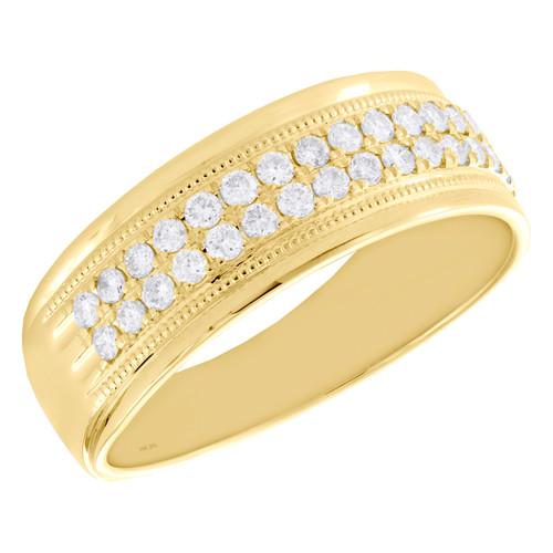 10K Yellow Gold Round Diamond 2 Row Prong Set Wedding Band 7.50mm Ring 1/2 CT.