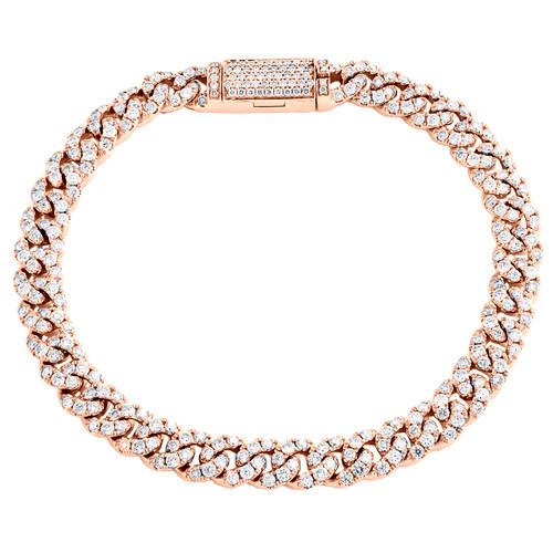 "14K Rose Gold Round Diamond 6.25mm Miami Cuban Link 7"" Statement Bracelet 3.9 CT"