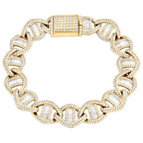 10K Yellow Gold Round & Baguette Diamond 14mm Puff Anchor Link Bracelet 10.60 CT