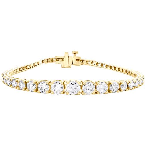 "14K Yellow Gold Round Solitaire Diamond Graduating Tennis 7"" Bracelet 7.05 CT."