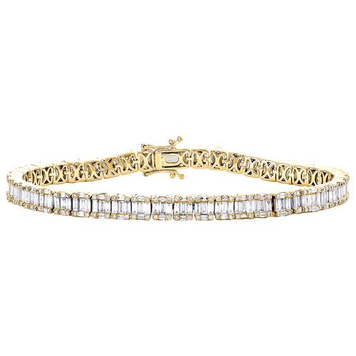 "14K Yellow Gold Round & Baguette Diamond 5mm Statement 7"" Tennis Bracelet 4.8 CT"