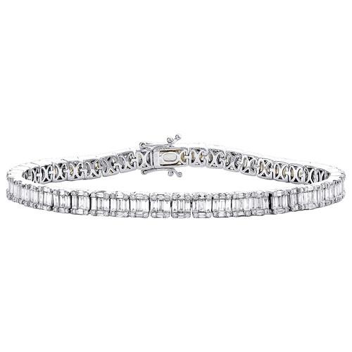"14K White Gold Round & Baguette Diamond 5mm Statement 7"" Tennis Bracelet 4.80 CT"