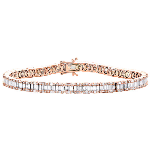"14K Rose Gold Round & Baguette Diamond 5mm Statement 7"" Tennis Bracelet 4.80 CT."
