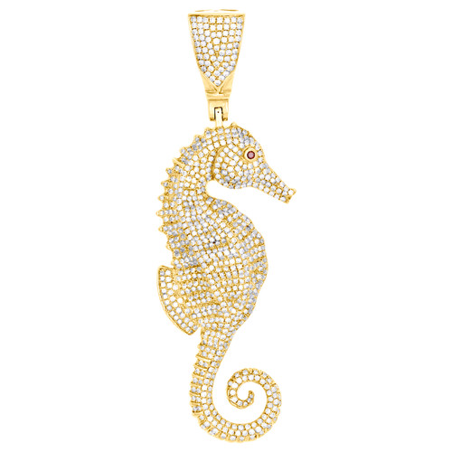 "10K Yellow Gold Round Diamond Seahorse Statement Pendant 3.30"" Charm 3.27 CT."