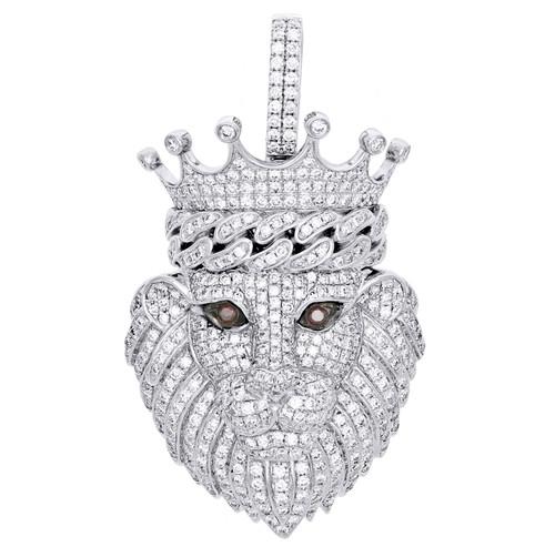 "10K White Gold Round Dimaond Lion Face King Crown Pendant 2.10"" Charm 3.10 CT."