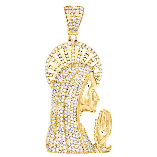 """14K Yellow Gold Round Diamond Virgin Mother Mary Pendant 2.4"""" Pave Charm 3.26 CT"""
