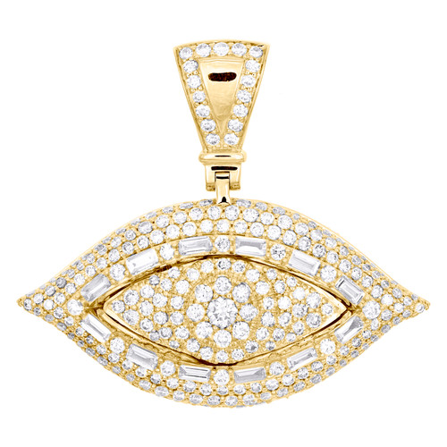 "10K Yellow Gold Round & Baguette Diamond Evil Eye Pendant 1.35"" Charm 2.94 CT."