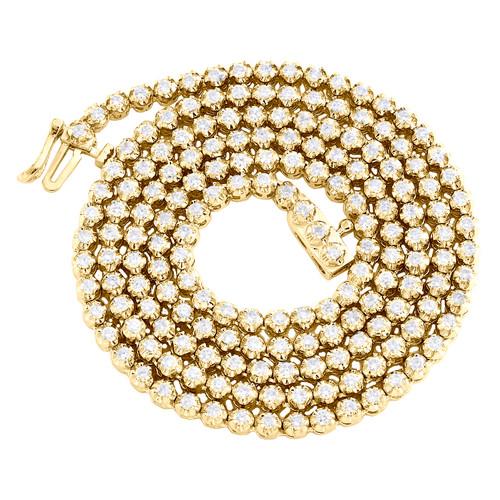 "10K Yellow Gold Diamond Tennis 3mm Choker Chain 22"" Martini Set Necklace 4.60 CT"