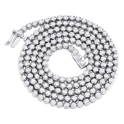 "14K White Gold Round Diamond Tennis Chain 3mm Martini Set 18"" Necklace 3.75 CT."