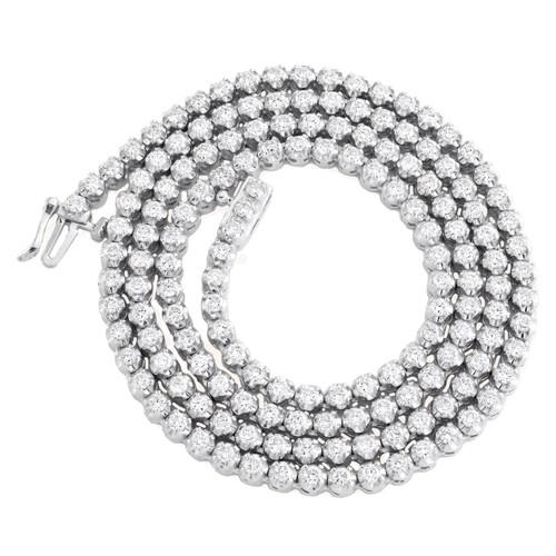 "10K White Gold Round Diamond Tennis Necklace 3.5mm Martini Set 16"" Chain 5.15 CT"