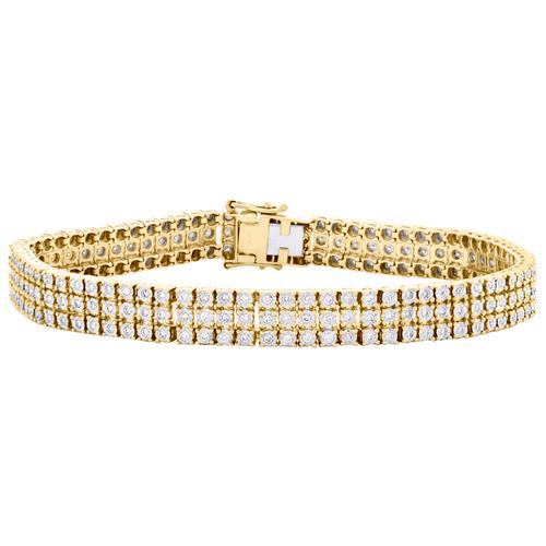 10K Yellow Gold Round Diamond 3 Row Miracle Set 9mm Statement Bracelet 2.50 CT.