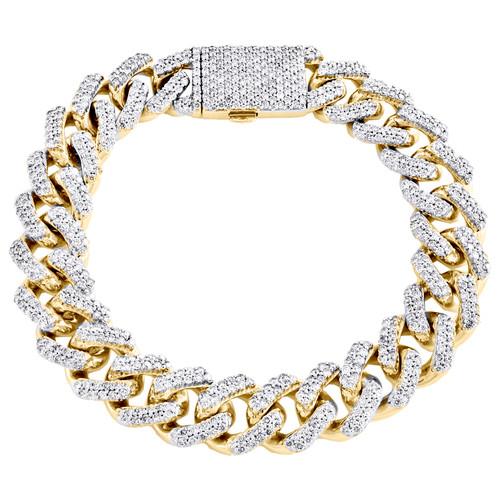 10K Yellow Gold Round Diamond Miami Cuban Link 14mm Statement Bracelet 9.70 CT.