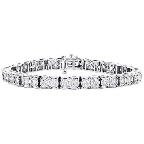 10K White Gold Round Diamond Miracle Set 6mm Infinity Frame Tennis Bracelet 5 CT