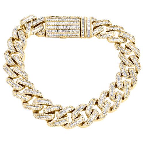 10K Yellow Gold Round & Baguette Diamond 13mm Miami Cuban Link Bracelet 7.40 CT.