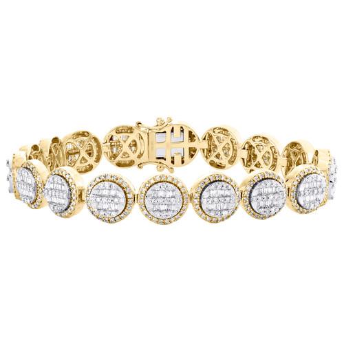 10K Yellow Gold Round & Baguette Diamond 12mm Cluster Statement Bracelet 6.25 CT