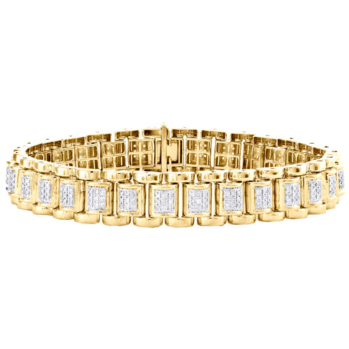 10K Yellow Gold Round Diamond Jubilee Link 13mm Statement Pave Bracelet 2 CT.