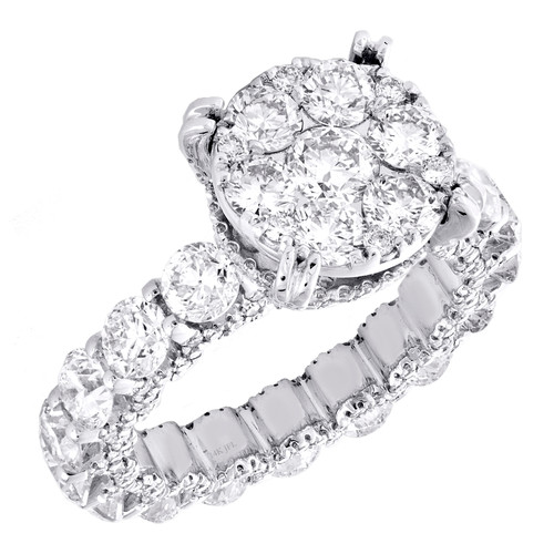 14K White Gold Cathedral Set Diamond Eternity Flower Engagement Ring 5.50 TCW