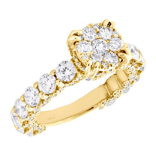 14K Yellow Gold Cathedral Setting Diamond 3/4 Eternity Engagement Ring 3.25 TCW