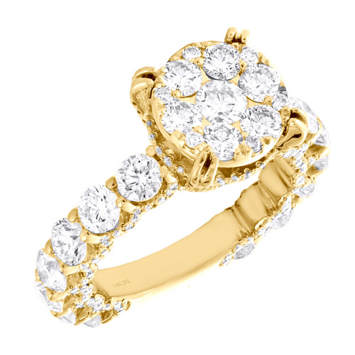 14K Yellow Gold Cathedral Setting Diamond 3/4 Eternity Engagement Ring 4.20 TCW