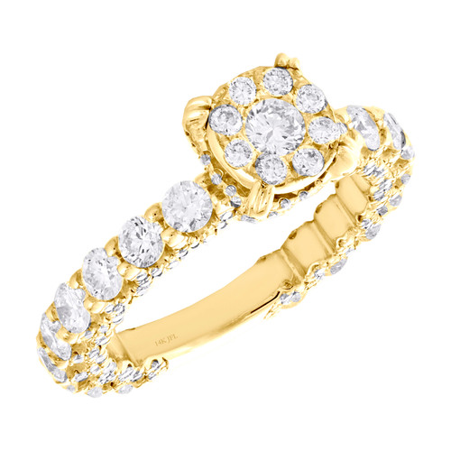 14K Yellow Gold Cathedral Setting Diamond 3/4 Eternity Engagement Ring 2.60 TCW