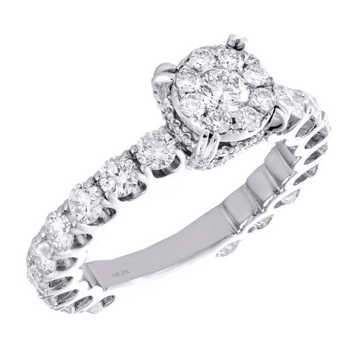 14K White Gold Cathedral Setting Diamond 3/4 Eternity Engagement Ring 2.20 TCW