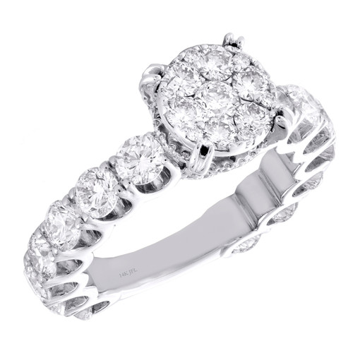 14K White Gold Cathedral Setting Diamond 3/4 Eternity Engagement Ring 3.60 TCW