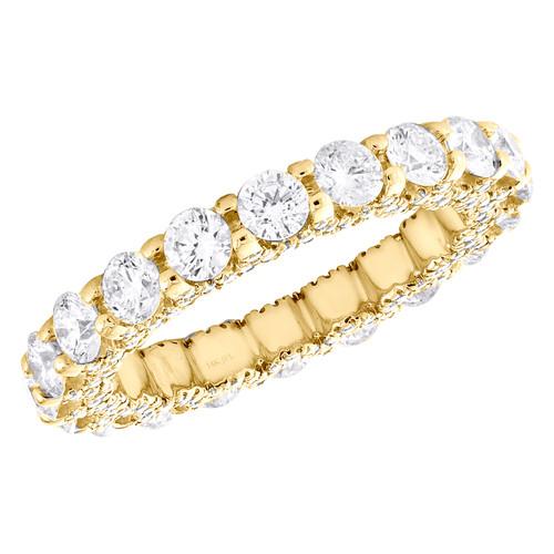 14K Yellow Gold Diamond Eternity Wedding Band Vintage Style Women's Ring 2.66 CT