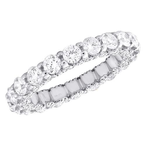 14K White Gold Diamond Eternity Wedding Band Vintage Style Women's Ring 2.70 CT