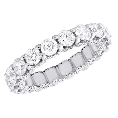 14K White Gold Diamond Eternity Wedding Band Vintage Style Women's Ring 3.65 CT