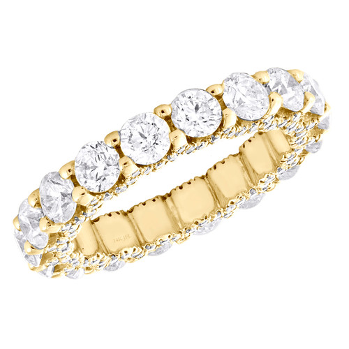 14K Yellow Gold Diamond Eternity Wedding Band Vintage Style Women's Ring 3.84 CT