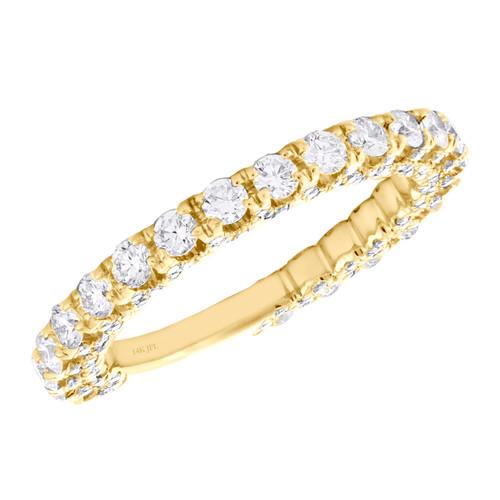 14K Yellow Gold Diamond 3/4 Eternity Wedding Band Vintage Style Ring 1.20 CT.