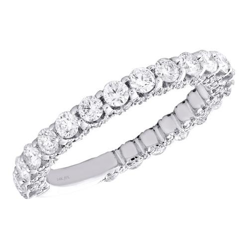 14K White Gold Diamond 3/4 Eternity Wedding Band Vintage Style Ring 1.43 CT.