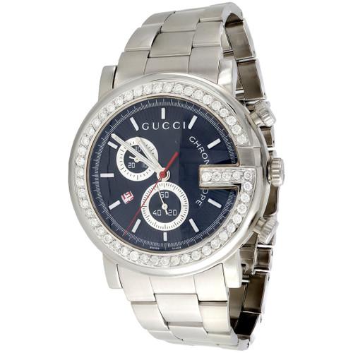 Mens Custom Diamond Gucci Ya101309 G-Watch Black Dial Chronograph 1.75 Ctw. 44mm