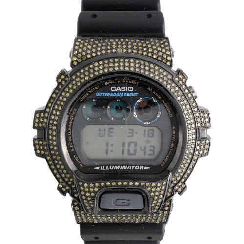 G-Shock Real Yellow Diamond Watch Casio Custom Casing 6900 Model 5 Ct.