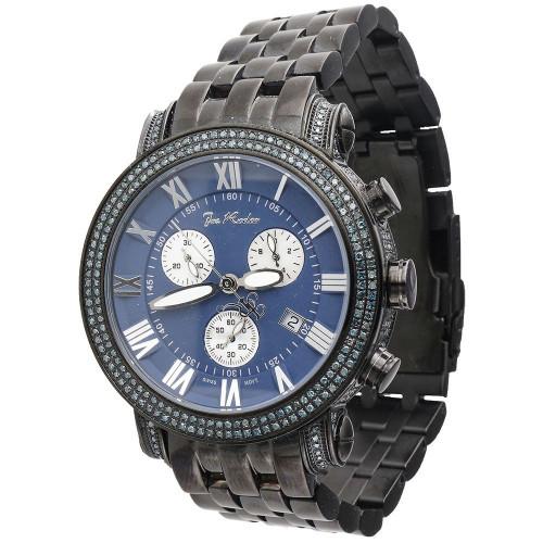 Joe Rodeo Classic JCL111 Mens Blue Diamond Watch 3.50 Ct. Black PVD Metal 46mm