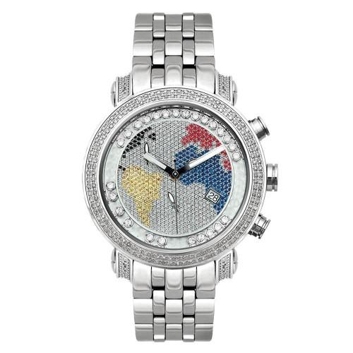 Men's Diamond Watch Joe Rodeo Classic JCL49(W) 1.75 Ct World Map Dial
