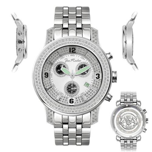 Men's Diamond Watch Joe Rodeo J2029 1.5 Ct White Illusion Dial