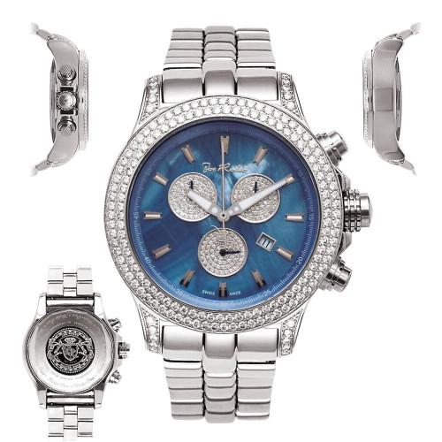 Men's Diamond Watch Joe Rodeo Master Pilot JMP03 7 Ct Chronograph Blue MOP Dial