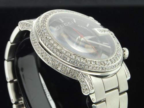 "Diamond Gucci 101G Custom ""G"" Watch Mens 6 Ct. with Side Casing 1 Row YA101309"