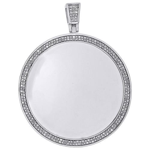 Diamond Customizable Medallion Pendant .925 Sterling Silver Charm 0.60 Ct.