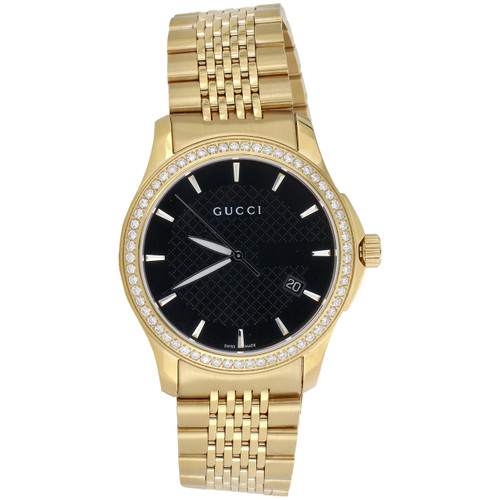 Gucci Ya126402 Diamond Watch Black Dial 38mm Stainless Steel Gold PVD 1.75 Ct.